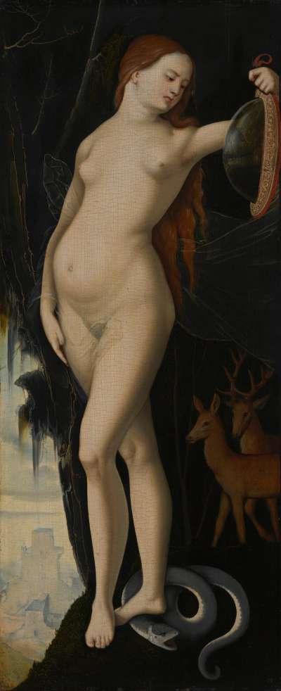 Allegorische Frauengestalt mit Spiegel, Schlange, Hirsch und Hindin