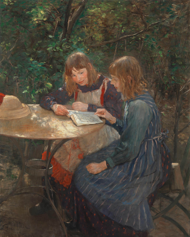 Zwei Mädchen im Garten