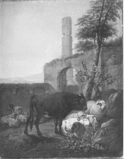 Ein brauner Stier und ruhende Schafe in antiker Ruine