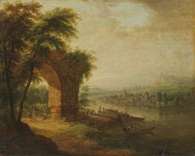 Flusslandschaft mit Ruinenbogen