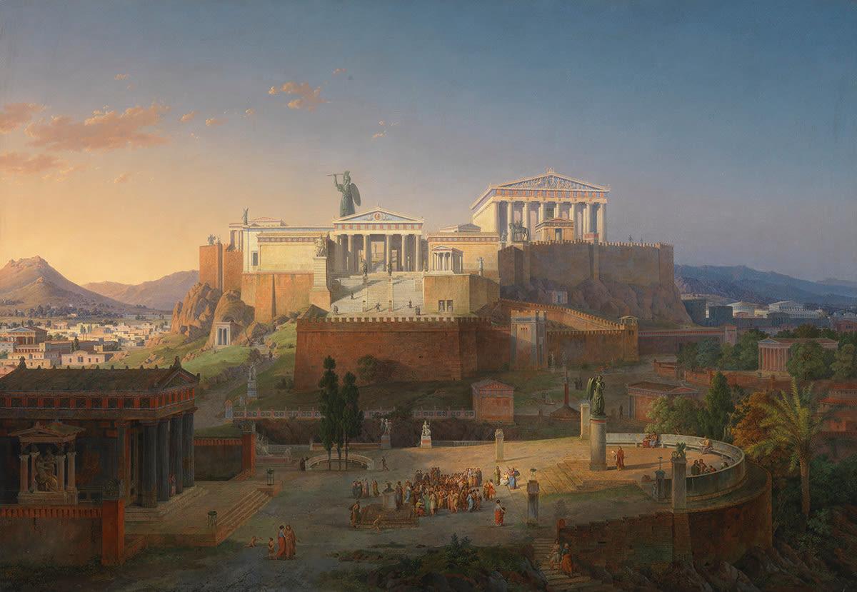 Ideale Ansicht der Akropolis und des Areopag in Athen