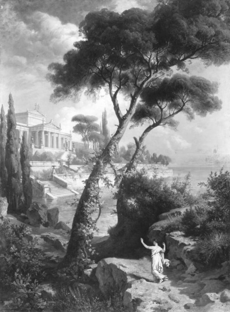 Psyche erblickt den Palast des Amor