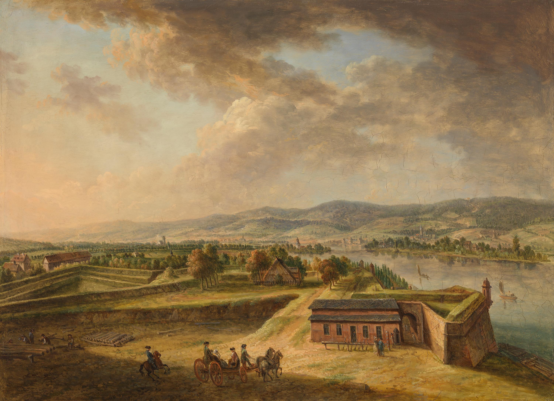 Blick von den nördlichen Bastionen der Stadt Mainz auf Bieberich