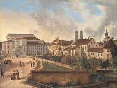 Die Königliche Residenz von Nordosten im Jahr 1827