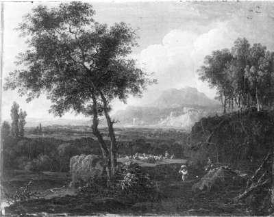 Ideale Landschaft mit Viehherde