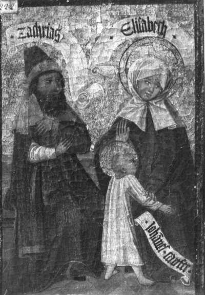 Zweiter Kirchheimer Sippenaltar: Zacharias und Elisabeth mit dem Johannesknaben