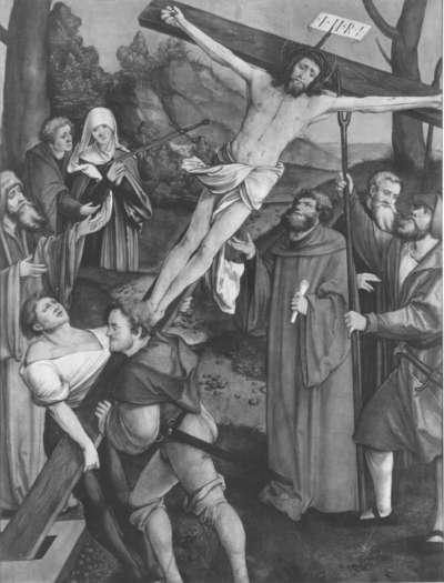 Christgartner Altar: Fall Christi bei der Kreuzaufrichtung  (Abgetrennte Rückseite von WAF 920)