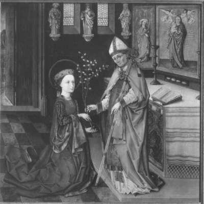 Klarenaltar: Die hl. Klara empfängt vom Bischof von Assisi den Palmzweig