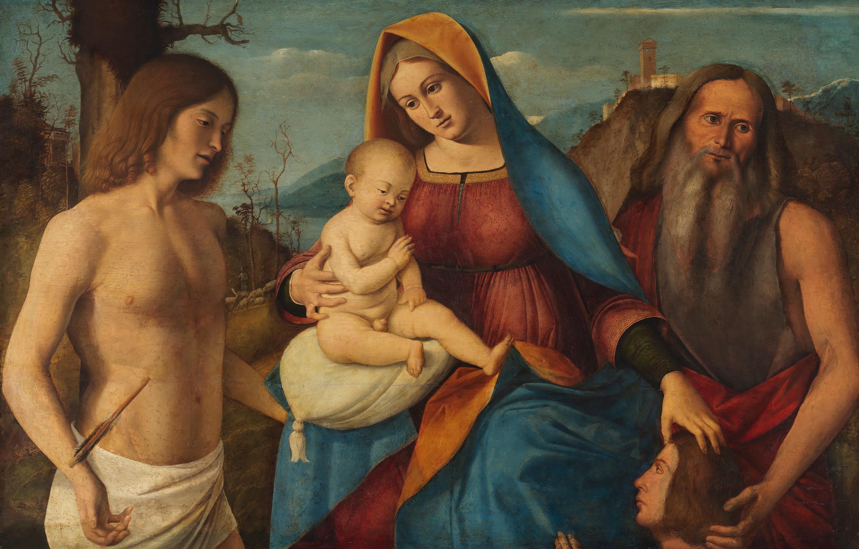 Maria mit Kind, den hll. Hieronymus, Sebastian und einem Stifter