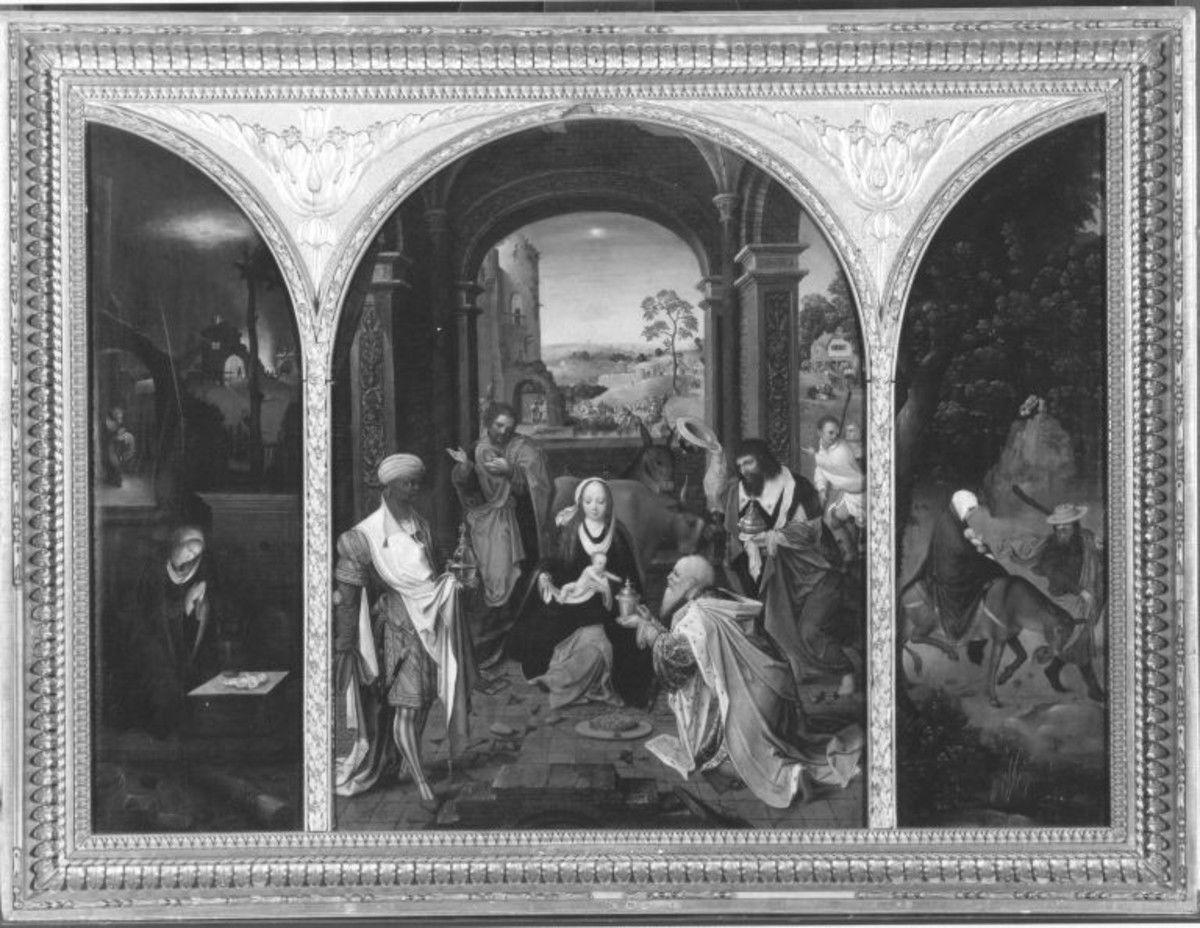 Triptychon mit der Anbetung der Könige, der Flucht nach Ägypten und der Geburt Christi (nach Jan de Beer?)