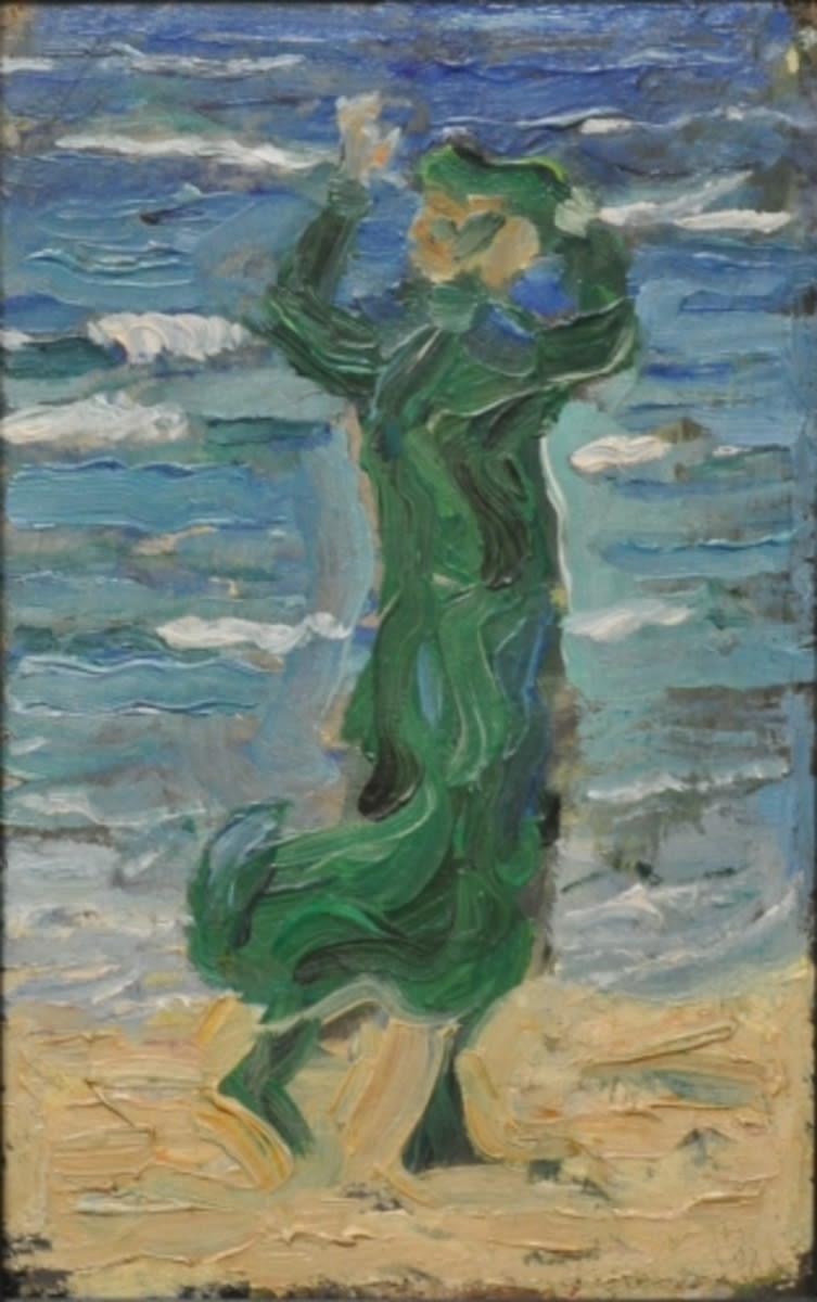 Frau im Wind am Meer