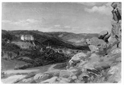 Aussicht vom Fuß des Großvaterfelsens auf Blankenburg