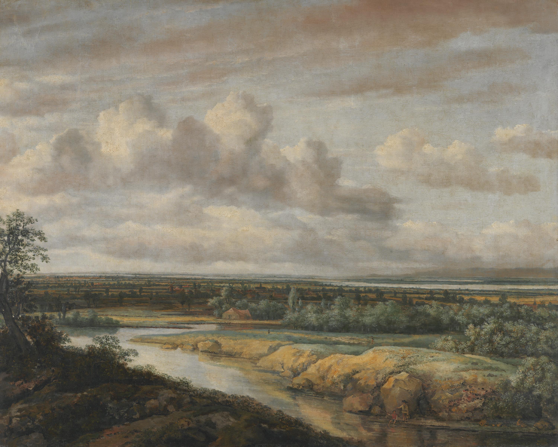Flachlandschaft mit zwei Anglern
