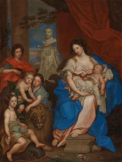 Maria Kasimira, Gemahlin Johannes' III. Sobieski, mit ihren Kindern