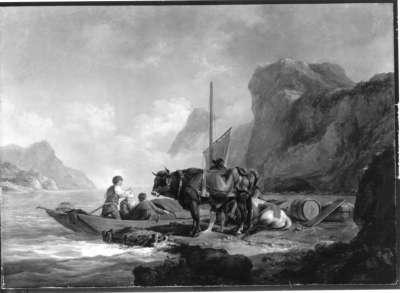 Landleute am Ufer eines Gebirgssees