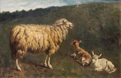 Mutterschaf mit Lamm und Zicklein