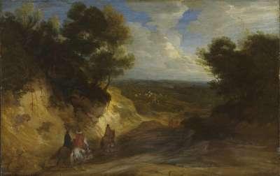 Landschaft mit Hohlweg