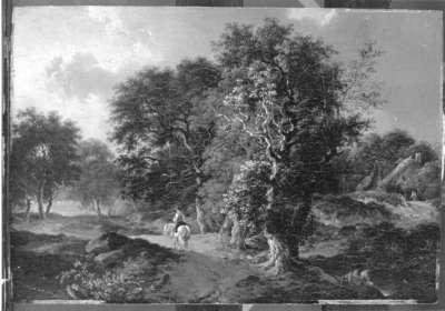 Landschaft mit Reiter auf einem Weg mit Eichen