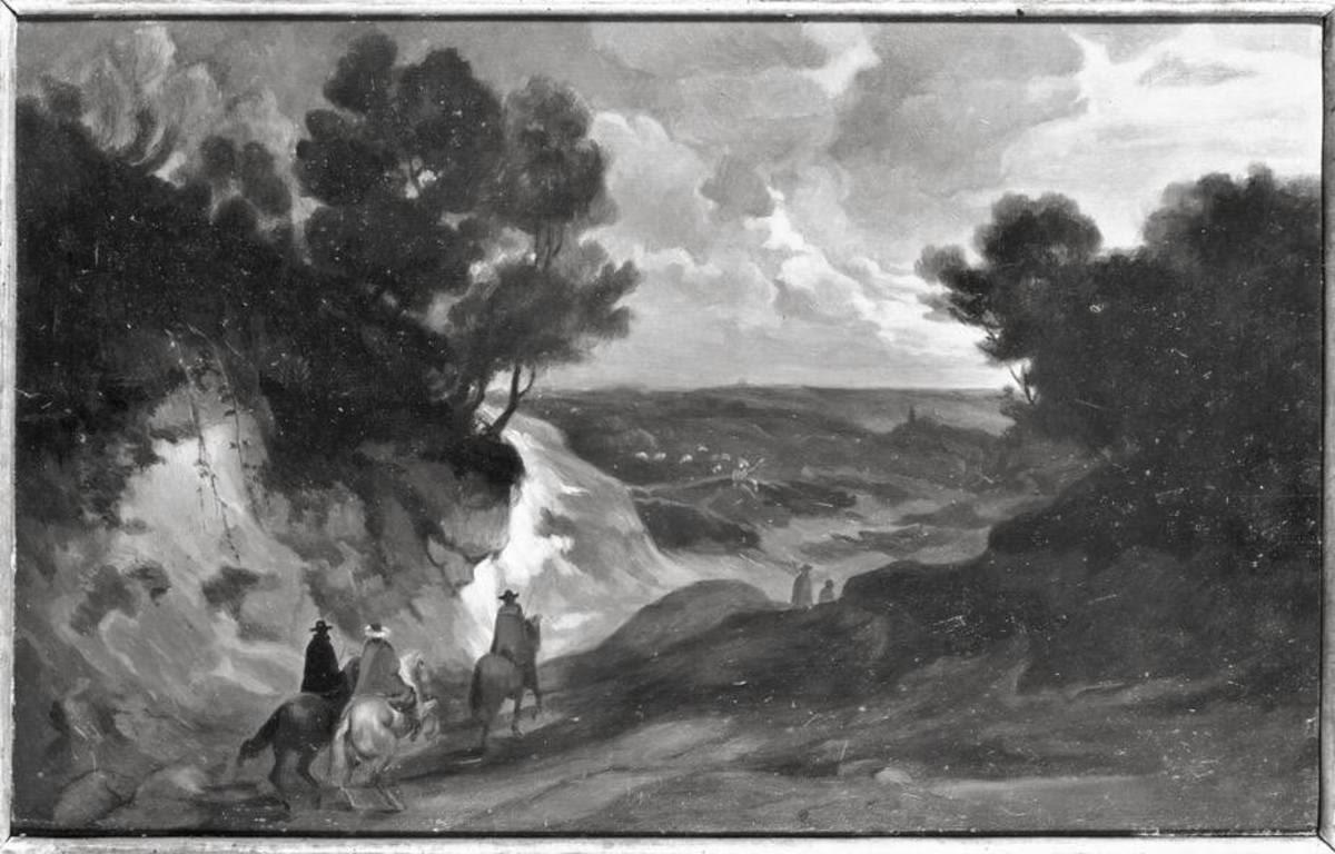Landschaft mit Hohlweg und drei Reitern
