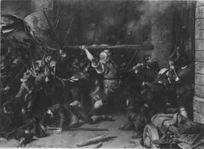 Die Erstürmung des Roten Turmes in München durch die Oberländer Bauern am Weihnachtsmorgen 1705