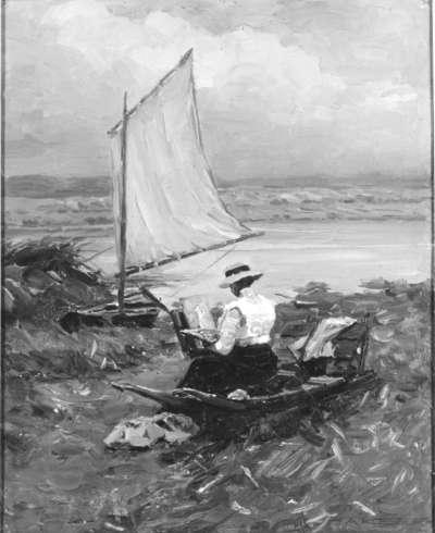 Malerin am Segelboot