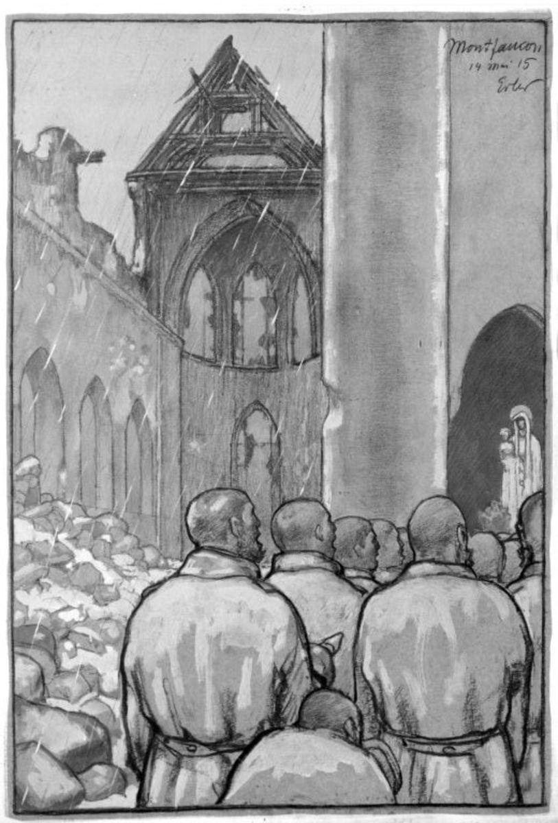 Gottesdienst in zerschossener Kirche