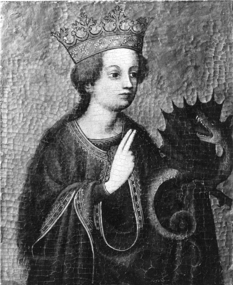Katharinen-Altar: Hl. Margaretha Rückseite: Grabtragung der hl. Katharina (zerstört)