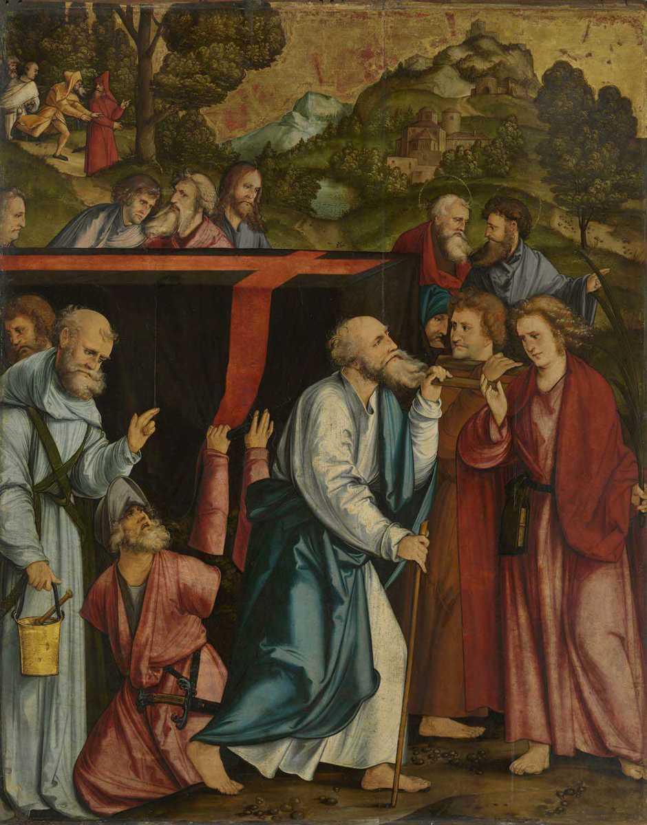 Christgartner Altar: Grabtragung Mariens Rückseite: Fall Christi auf das Kreuz