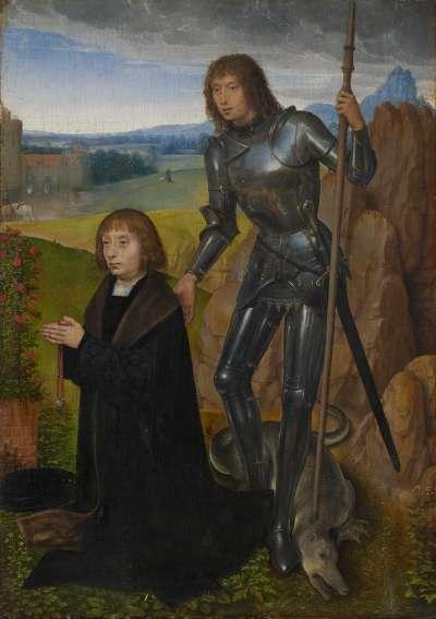 Tafel eines Diptychons: Der hl. Georg mit Stifter (Außenseite abgetrennt; siehe Inv.-Nr. 1401)