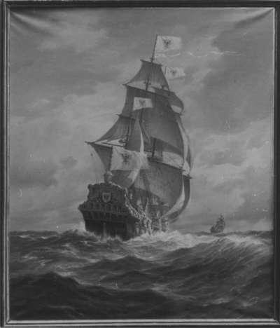 """Die kurbrandenburgischen Schiffe """"Wappen von Brandenburg"""" und """"Morian"""" auf der Reise / nach Westafrika im Jahre 1680"""