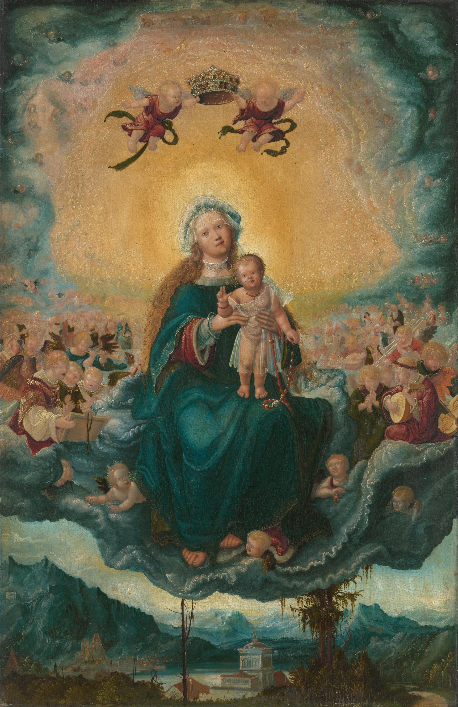 Maria mit dem Kinde in der Glorie (Rückseite: Maria Magdalena am Grab Christi)