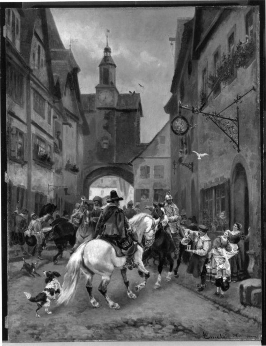Abmarsch schwedischer Reiter aus Rothenburg ob der Tauber (Szene am Römerbogen)