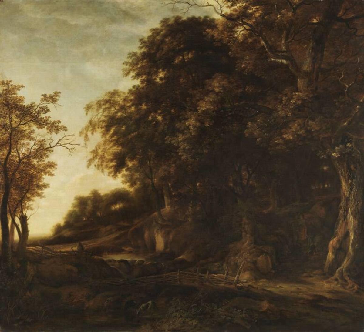 Eichenwald mit Jäger