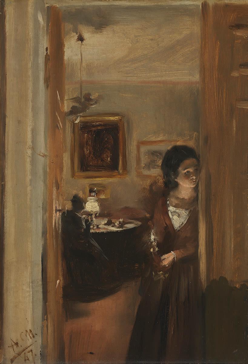 Wohnzimmer mit Menzels Schwester