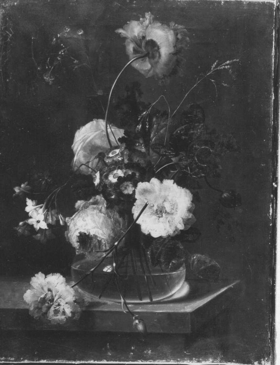 Blumenstillleben (Rosen in einer gläsernen Vase)