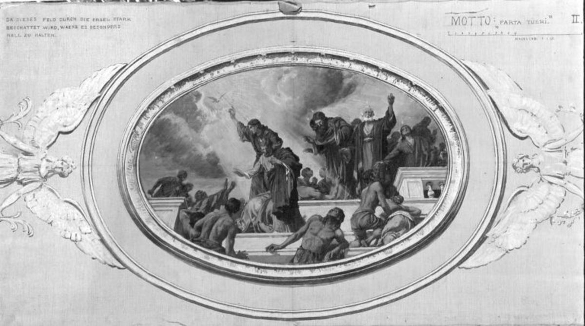 Entwürfe für die Decke der Dreifaltigkeitskirche in Kaufbeuren: Aussendung des Heiligen Geistes