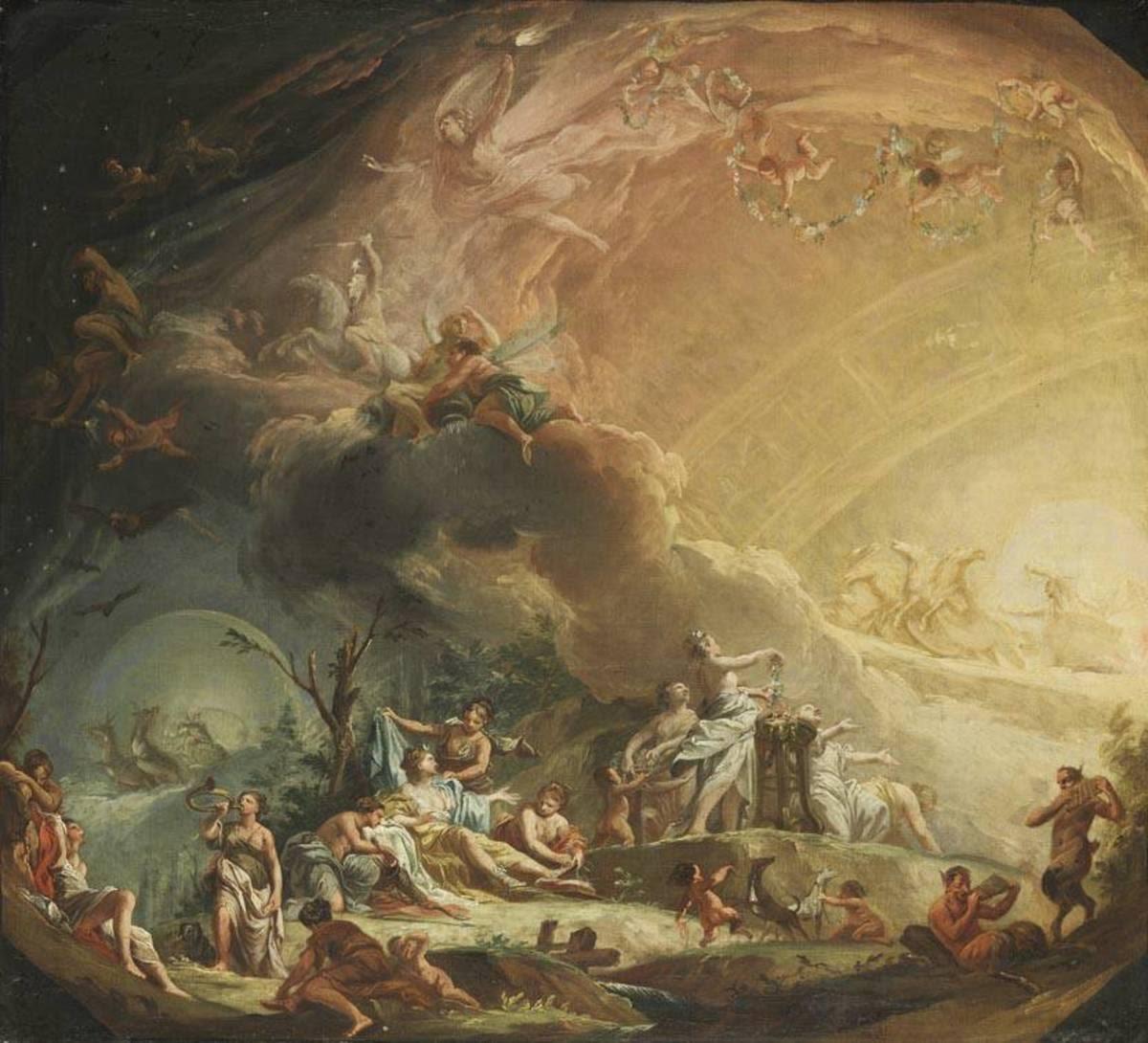 Allegorie des Morgens mit Aufbruch der Diana zur Jagd