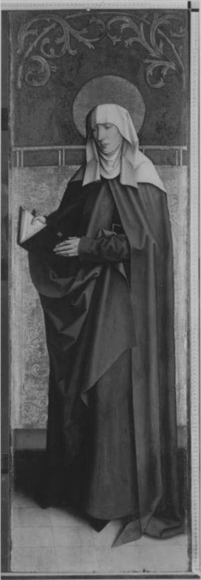 Flügel eines Altares: Hl. Brigitta (abgesägte Rückseite von WAF 1205)