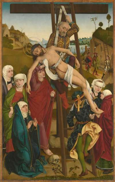 Hofer Altar: Kreuzabnahme Christi (Rückseite: Geburt Christi)