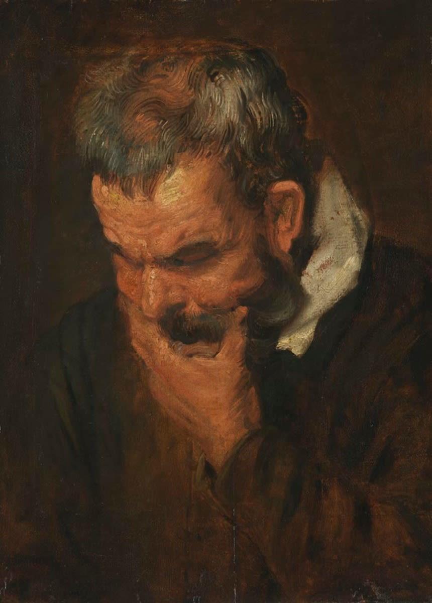 Studienkopf eines nach links unten blickenden Mannes, der sein Kinn in die Hand stützt