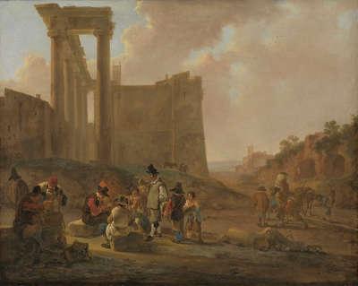 Römische Volksszene mit Kartenspielern vor dem Saturntempel