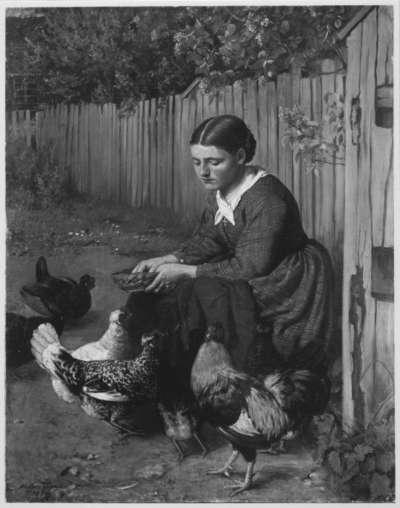 Hühner fütterndes Mädchen