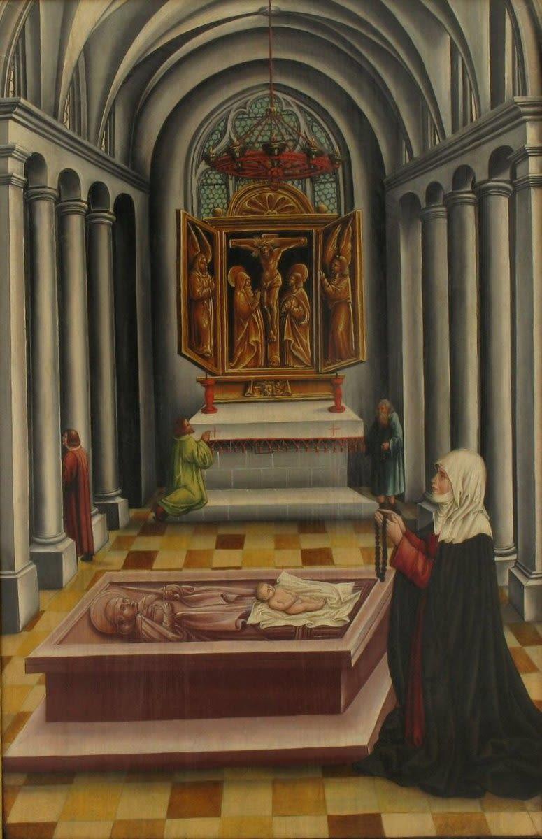 Auferweckung eines totgeborenen Kindes auf dem Grab des hl. Petrus von Mailand