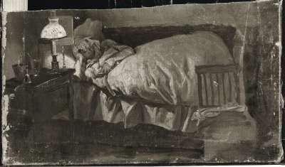 Lesende Frau im Bett