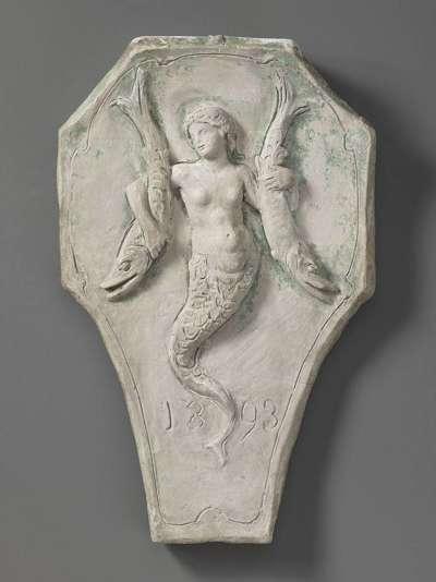 Modell für ein Wappenschild mit einer Seejungfrau