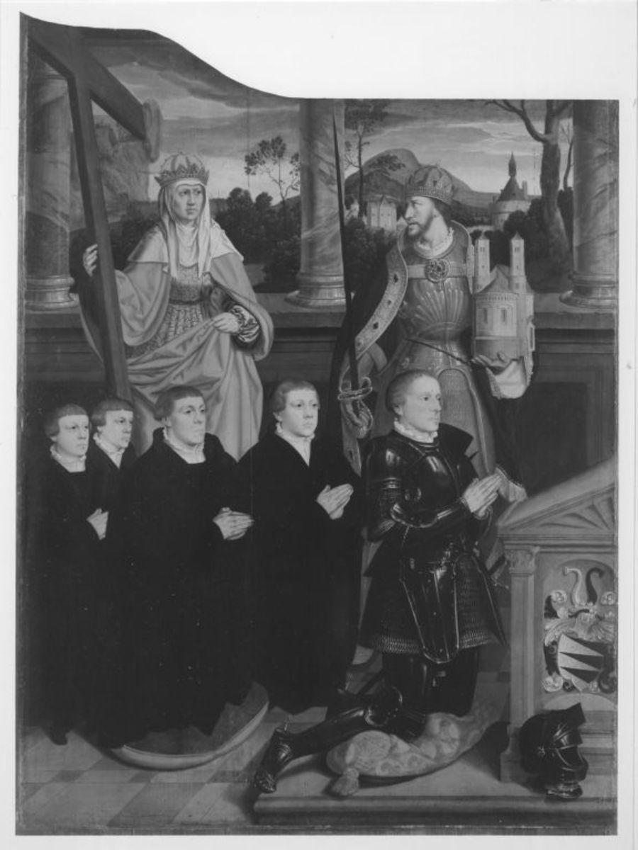 Siegen-Altar: Die hll. Helena und Heinrich mit Stifter Arnold von Siegen und seinen vier Söhnen  Rückseite: Ecce Homo
