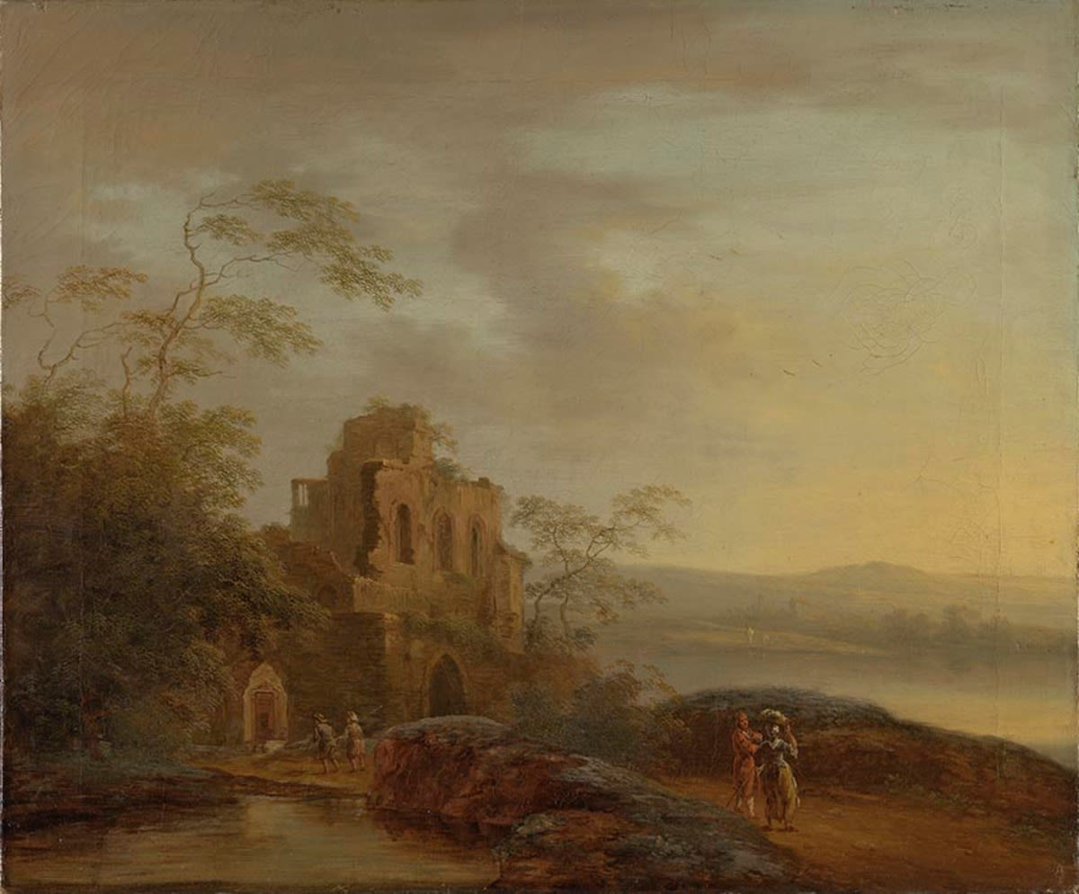 Abendlandschaft mit Ruine