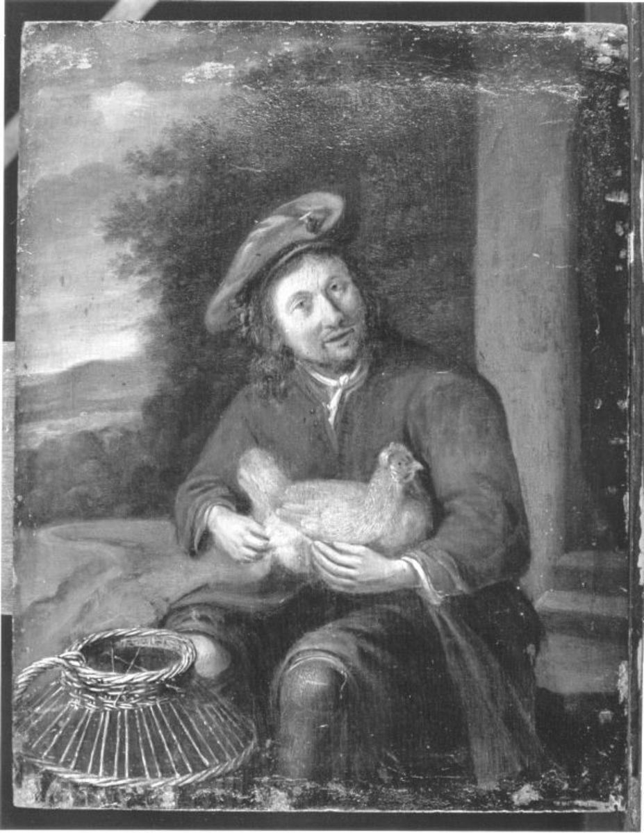 Bauer mit Henne