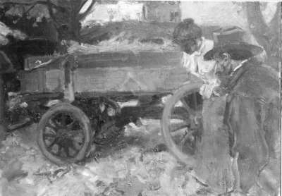 Bauernwagen mit Mann und Frau