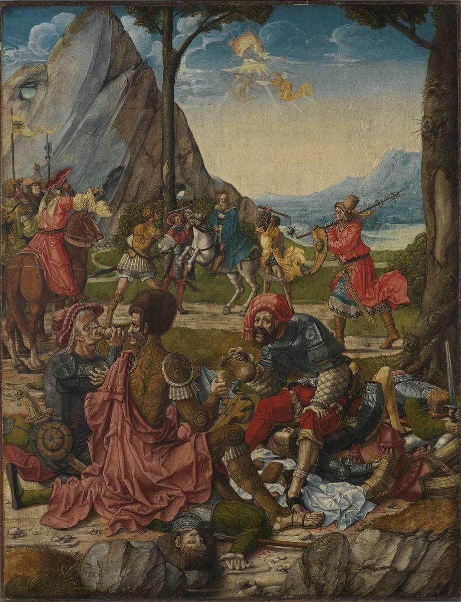 """Martyrium der thebaischen Legion (Innenseite: Hll. Anno und """"Gregorius Moro"""")"""